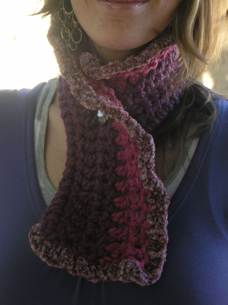 Linda lu handmade crochet neckwarmer scarf pink purple